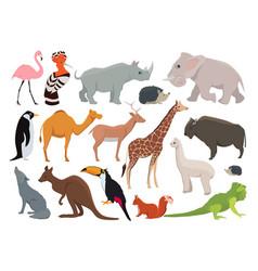 Cute wild animals in cartoon style vector