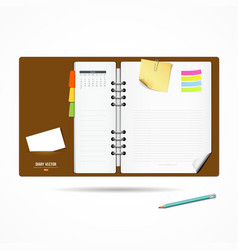 Diary note book modern design background vector