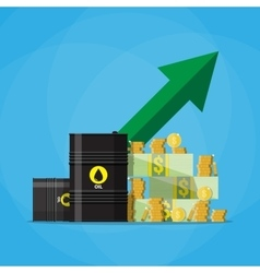 dollars and coins oil barrel chart graph arrow up vector image vector image