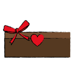 drawing love cardboard box bow romance present vector image