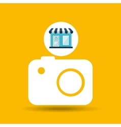 E-commerce store building camera photographic vector