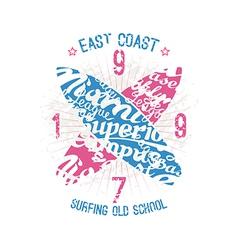 East coast surfing emblem vector image