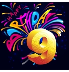 Fireworks Happy Birthday with a gold number 9 vector image