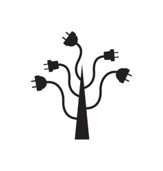 Flat icon in black and white tree energy vector