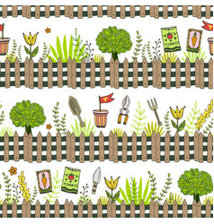 Garden pattern with seed packets tools and tree vector