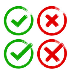 green red tick cross yes no brush check mark vector image