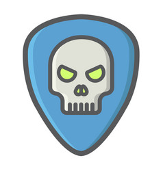 guitar pick with skull filled outline icon music vector image