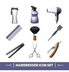 Hairdresser icons set vector