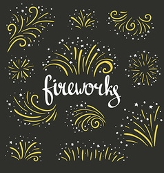 Hand drawn colorful fireworks on black background vector image