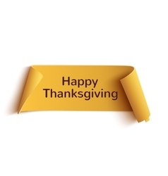 Happy thanksgiving yellow curved banner vector image vector image