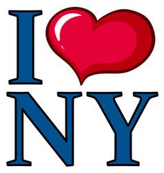 I love new york poster design with big heart vector