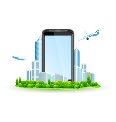 Icon touch screen smart phone with city vector