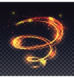 Magic glowing light swirl trail effect on vector image vector image