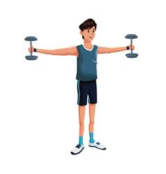 Man sports barbell training vector