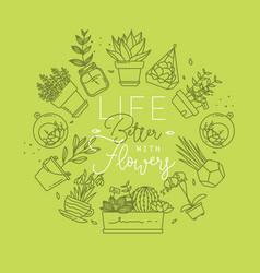monogram pots with plants life better light green vector image