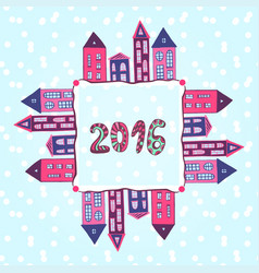 New year background 2016 lettering houses frame vector