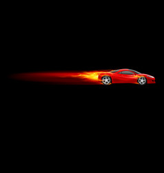 red sport car burnout design on black vector image