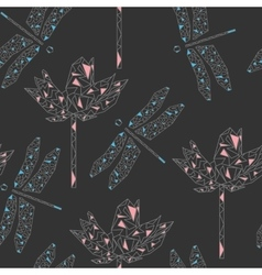 Seamless pattern with stylized dragonfly and lotus vector image