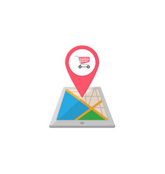 Shopping cart map pointer flat icon mobile gps vector