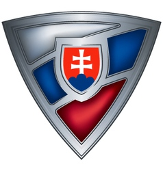 steel shield with flag slovak republic vector image vector image