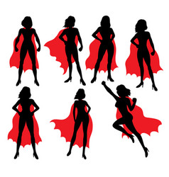 Super girl activity silhouettes vector