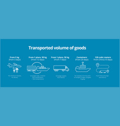 Transported volume of goods icons infographic vector
