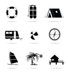 travel icon set vector image vector image