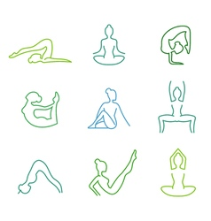 Yoga poses silhouettes set for woman health vector