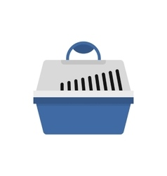Plastic pet carrier icon flat style vector