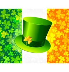 Saint Patricks hat on Irish flag vector image