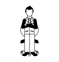 Businessman avatar sitting on office chair vector