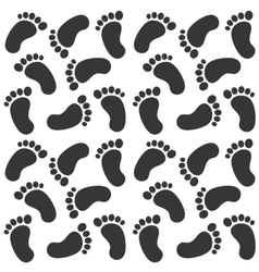 background with black baby footprints vector image
