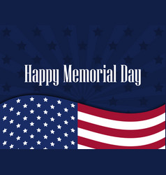 Happy memorial day american flag with the text vector