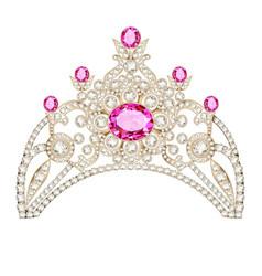 Feminine decorative tiara crown with jewels vector