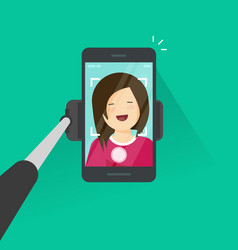 Selfie stick and smartphone making photo of vector