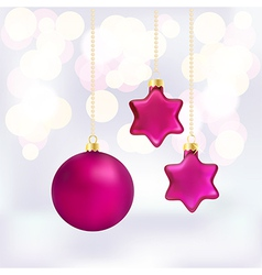 Christmas baubles on abstract background vector image