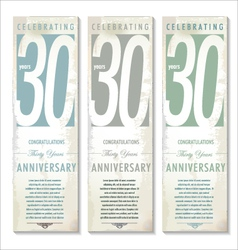 30 years anniversary retro banner set vector