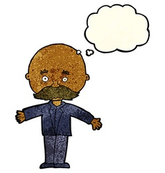 Cartoon bald man with open arms with thought vector