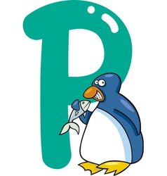 P for penguin vector image
