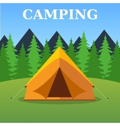 Camping tourist tent on forest landscape vector