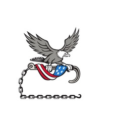 American Eagle Clutching Towing J Hook Flag Drape vector image
