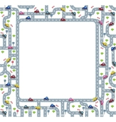 Funny frame or border with roads and cars vector