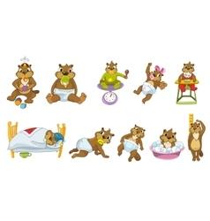 set of cute baby beavers vector image