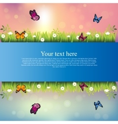 banner with grass and flowers vector image