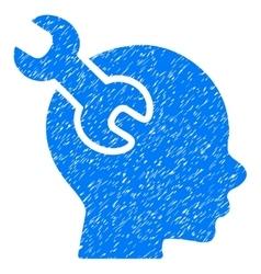 Brain service wrench grainy texture icon vector