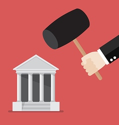 Business man handle a hammer to destroy a bank vector image