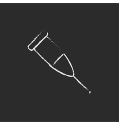 Crutch icon drawn in chalk vector