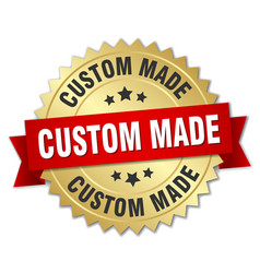 Custom made 3d gold badge with red ribbon vector