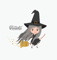 cute witch fantastic character flying in broom and vector image vector image