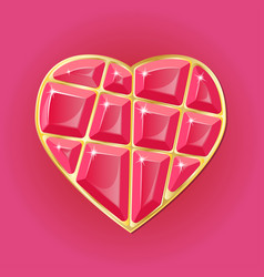 Diamond heart on pink background vector